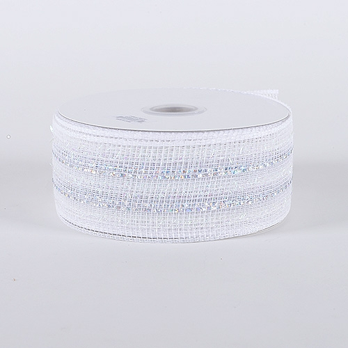 White Laser Metallic Mesh Ribbon