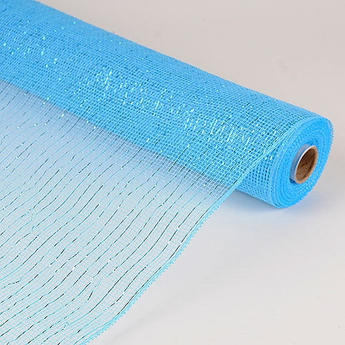 21 Inch x 10 Yards Metallic Mesh - Light Blue