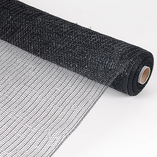 21 Inch x 10 Yards Metallic Mesh - Black with Silver