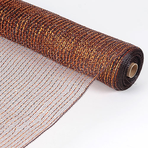 21 Inch x 10 Yards Metallic Mesh - Chocolate Brown With Copper